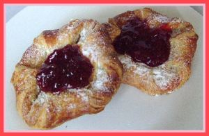 danish pastry jam food photography